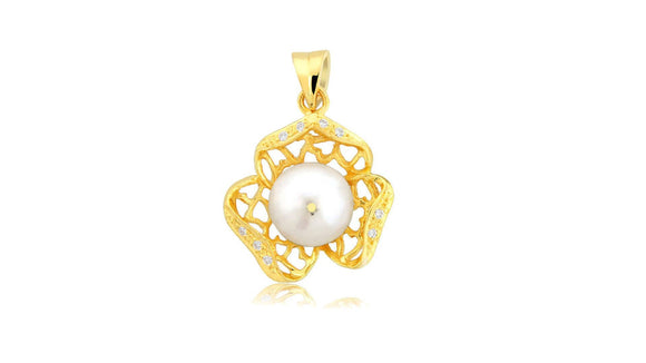 24K Handmade Simple Pearl Pendants - QueensDiamondandJewelry