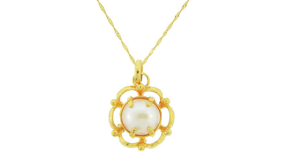 24K Handmade Simple Flower Design Pearl Pendants