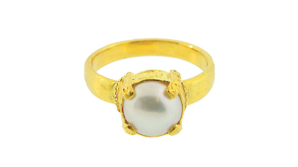 24K Gold Handmade Simple Design Pearl Ring