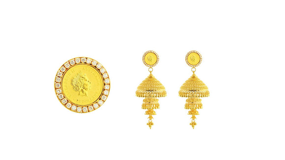 24K/22K Handmade Diamond Coin Earring