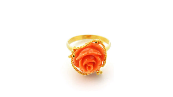 24K Gold Handmade Simple Coral Flower Ring