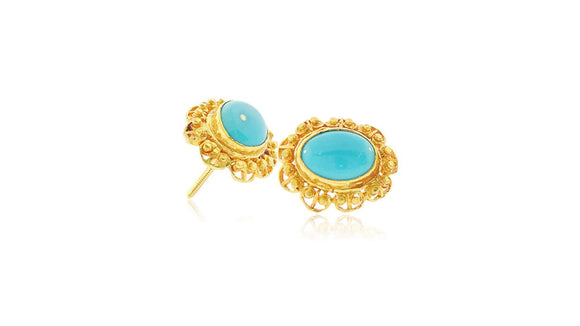 24K/22K Handmade Flower Design Oval Shape Turquoise Earring