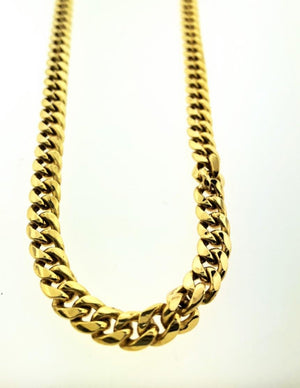 10kt Yellow Gold Cuban Hollow Chain with Length 28 inches - Queens Diamond & Jewelry