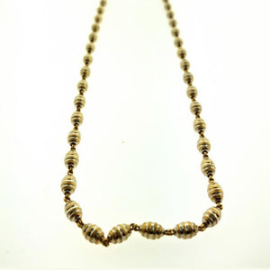 22kt Yellow Gold Bee Hive Gold Beaded Chain with Length 18.2 inches - Queens Diamond & Jewelry