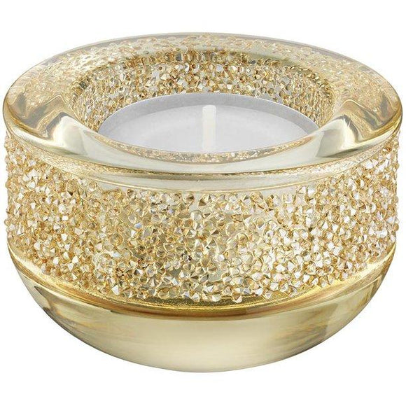Swarovski Shimmer Crystal Tea Light Holder in Gold - QueensDiamondandJewelry