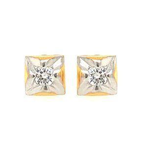 22K Yellow Gold square shape Rhodium Polished CZ Stud Earring