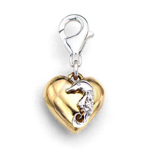 Sterling Silver Yellow Gold Heart with White Gold Seahorse with 0.05 ct t.w. Genuine Diamond Charm