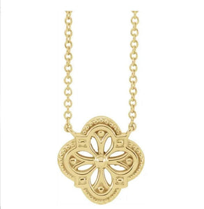 "14KT Yellow / Rose / White  Vintage-Inspired Clover 16"" / 18"" Necklace"