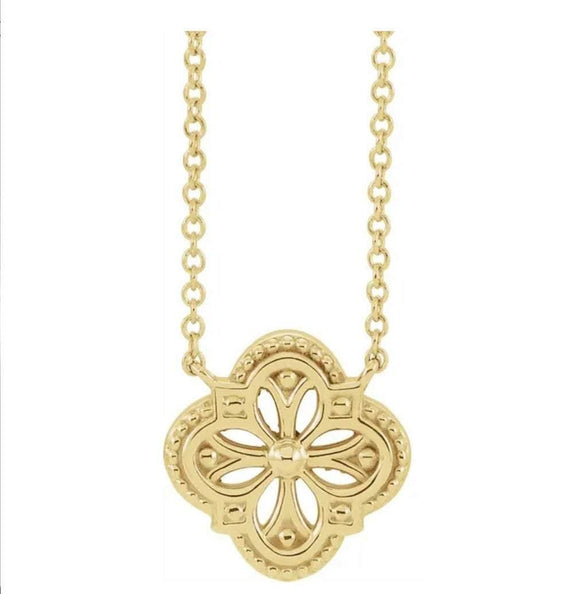14KT Yellow / Rose / White  Vintage-Inspired Clover 16