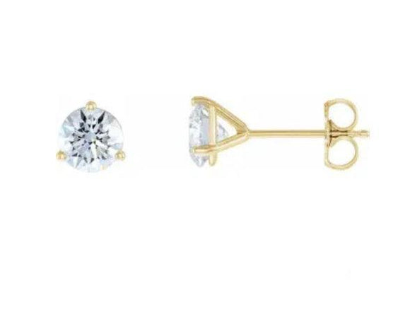 14KT Yellow / Rose / White 0.75ctw Lab-Grown Diamond Stud Earrings