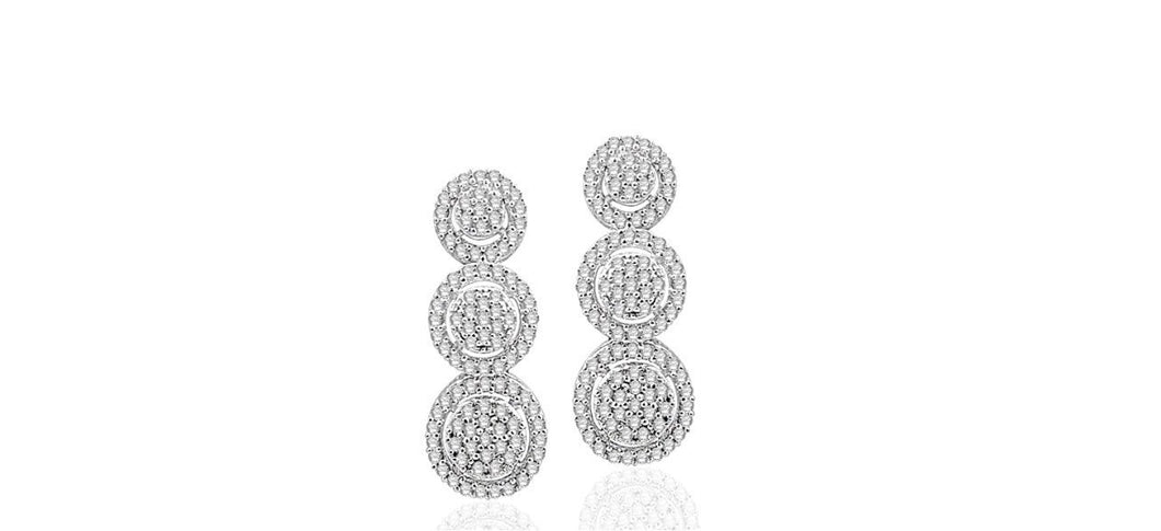 0.50ctw Triple Halo Diamond Drop Earrings in Sterling Silver