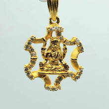 Load image into Gallery viewer, 22K Yellow Gold Goddess Laxmi Zircon Pendant