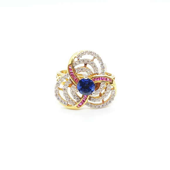 22KT Yellow Gold Cubic Zircon Ring