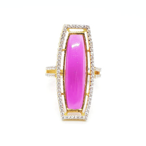 22KT Yellow Gold Cubic Zircon Ring in Pink and White