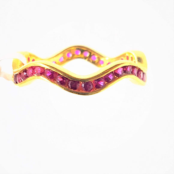 22KT Yellow Gold Pink Cubic Zircon Ring