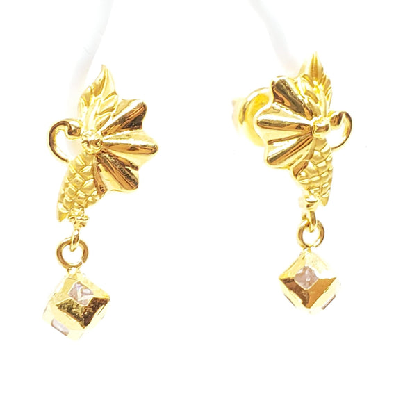 22K Gold Flower Earring With Dangling Ball