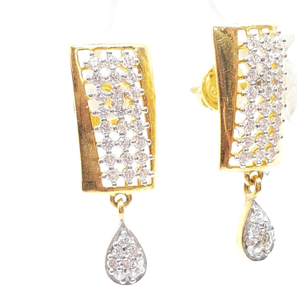 22K Gold Stylish Design Earring With Drop