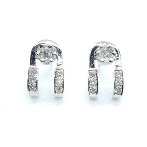 Unique Shaped Beautiful Diamond Earring in 14K White gold