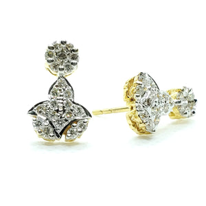 Unique Shaped Beautiful Diamond Earring in 14K Yellow gold