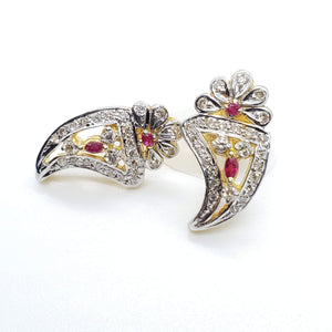 Elegant Diamond and Ruby Stud Earring in 14K Yellow Gold
