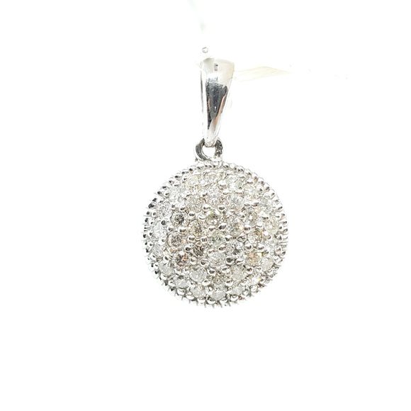 0.55ctw Diamond Circular Pendant in 14KT White Gold - QueensDiamondandJewelry