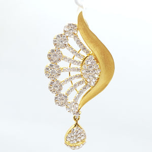 22KT Gold Peacock Head Design Cubic Zircon Pendant Weigh 5.3 Grams