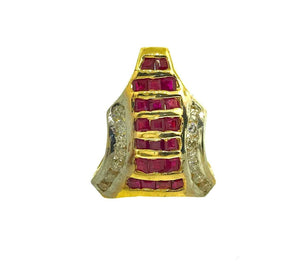 14KT Yellow Gold of Antique Design Pendant with Ruby stone