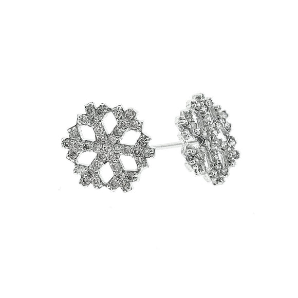 Snow Flake Design 0.74ctw Diamond Earring in 14KT White Gold - QueensDiamondandJewelry