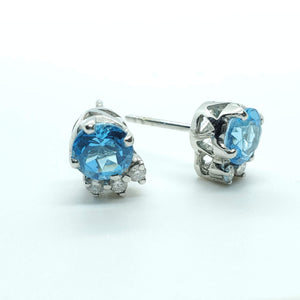 Beautiful Blue Topaz Stud With multiple Diamond in 14K White Gold