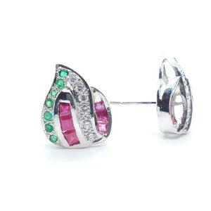 Multi Color Stones Ruby, Emerald and Zircon Ear Stud in 14K White Gold