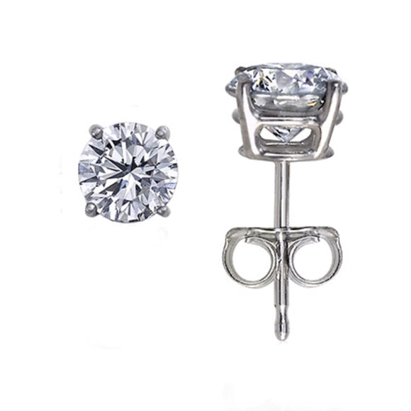 0.50ctw. Natural Round Diamond Stud Earrings in 14kt White Gold with Push Backs - QueensDiamondandJewelry