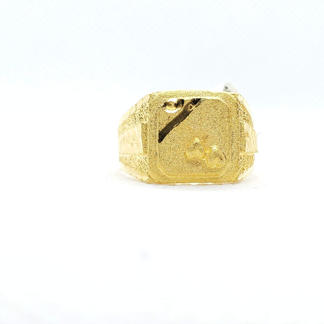 22KT Yellow Gold Heart embedded Ring for Men
