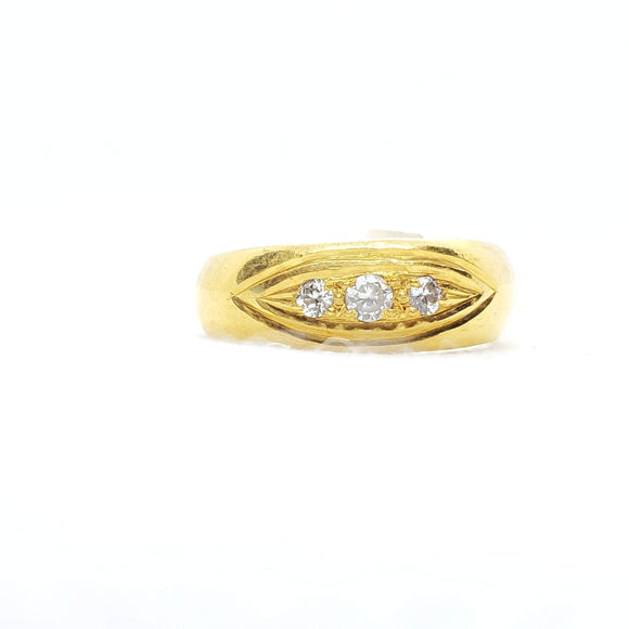 22KT Yellow gold ring with cubic zircon stone - QueensDiamondandJewelry
