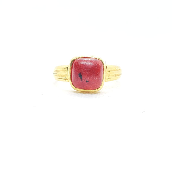 22KT Yellow Gold 4ctw Coral Ring- Size 9.25 - QueensDiamondandJewelry