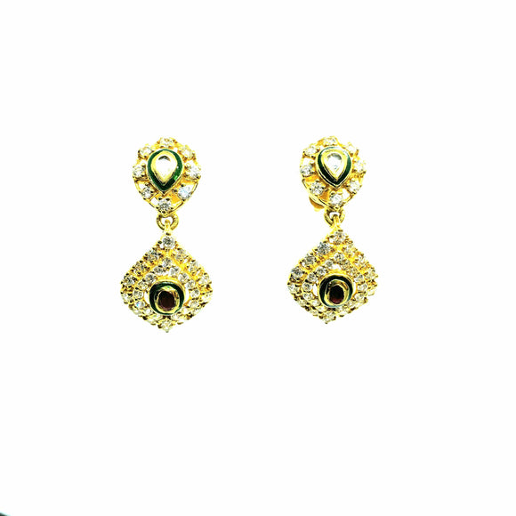 22KT Yellow Gold Drop Cubic Zircon Earring Weigh 6 grams - QueensDiamondandJewelry