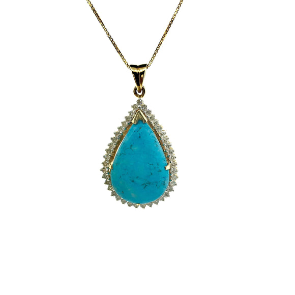 Approx 18.96CTW Diamond & Turquoise Diamond Necklace Pendant - QueensDiamondandJewelry