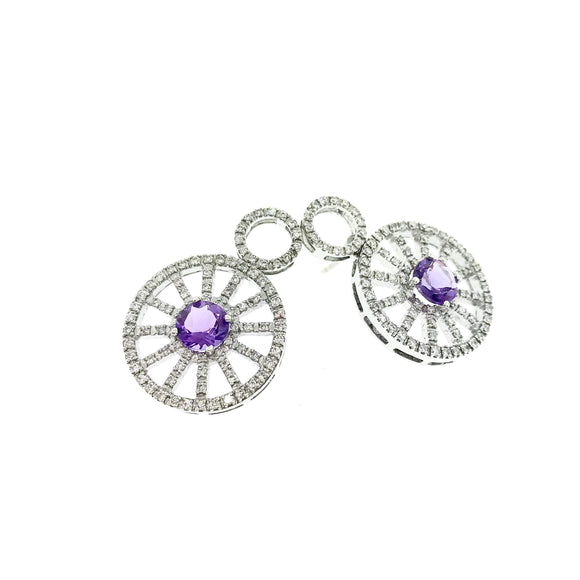 1.0ctw Diamond Earring with 1.65ctw Amethyst Stone Earring - QueensDiamondandJewelry