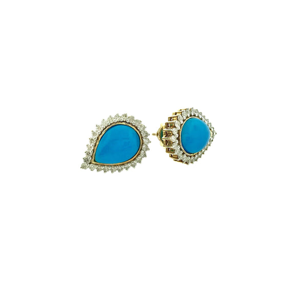 Approx 16.70ctw BOLD Turquoise & Diamond 18 KT Yellow Gold Earrings - QueensDiamondandJewelry