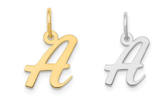 Your Choice 14kt White Gold / 14kt Yellow Gold Small Fancy Script Initial