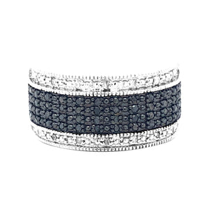 1/3ctw Black and White Diamond Band in Sterling Silver