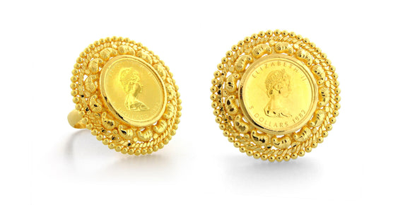 24K Gold Handmade Coin Asarfi Ring