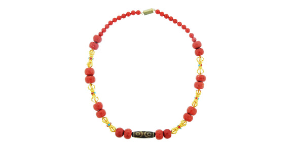 24K Handmade Zee, Dorje and Coral Necklace