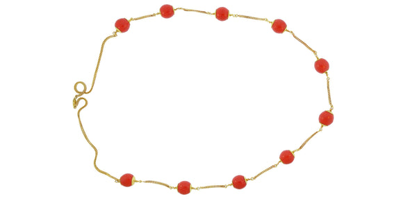 24K Handmade Coral Gold Necklace