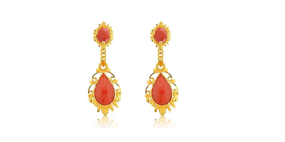 24K/22K Handmade Coral Pear Drop Earring