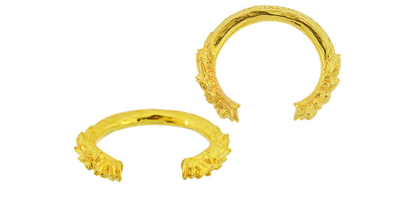 24K Handmade Open Kadey (Thorny) Design Bangle