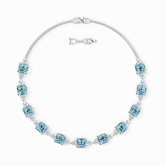 Swarovski Beautiful Sparkling Necklace in Aqua Color - QueensDiamondandJewelry