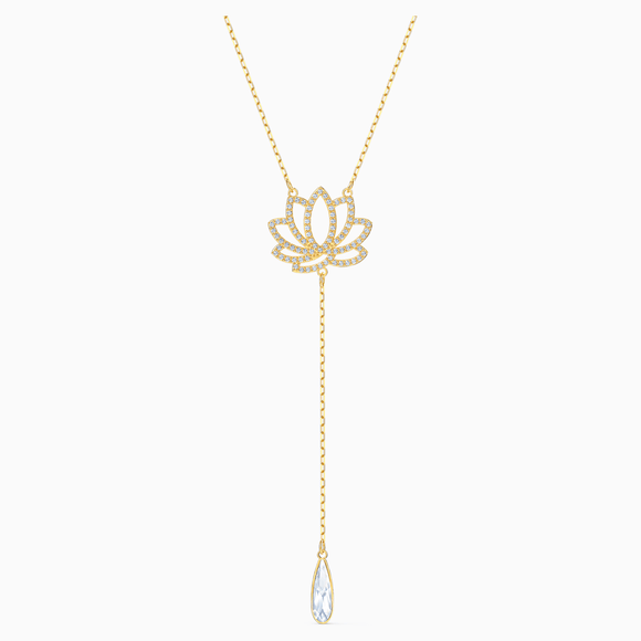 Swarovski Symbolic Lotus Necklace, White, Gold-tone plated - QueensDiamondandJewelry