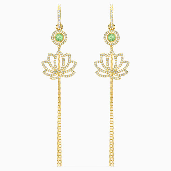 Swarovski Symbolic Lotus Pierced Earrings, Green, Gold-tone plated - QueensDiamondandJewelry