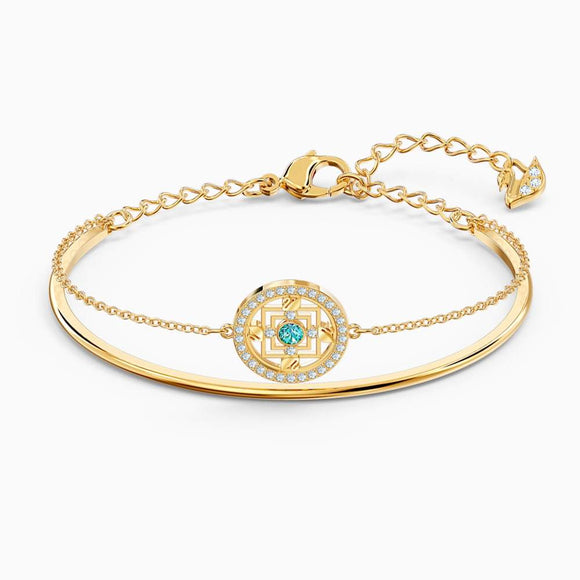Swarovski Symbolic Mandala Green Gold Plated Bangle - QueensDiamondandJewelry
