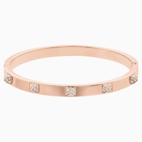 Tactic Bangle, White, Rose-gold tone plated-Medium - QueensDiamondandJewelry